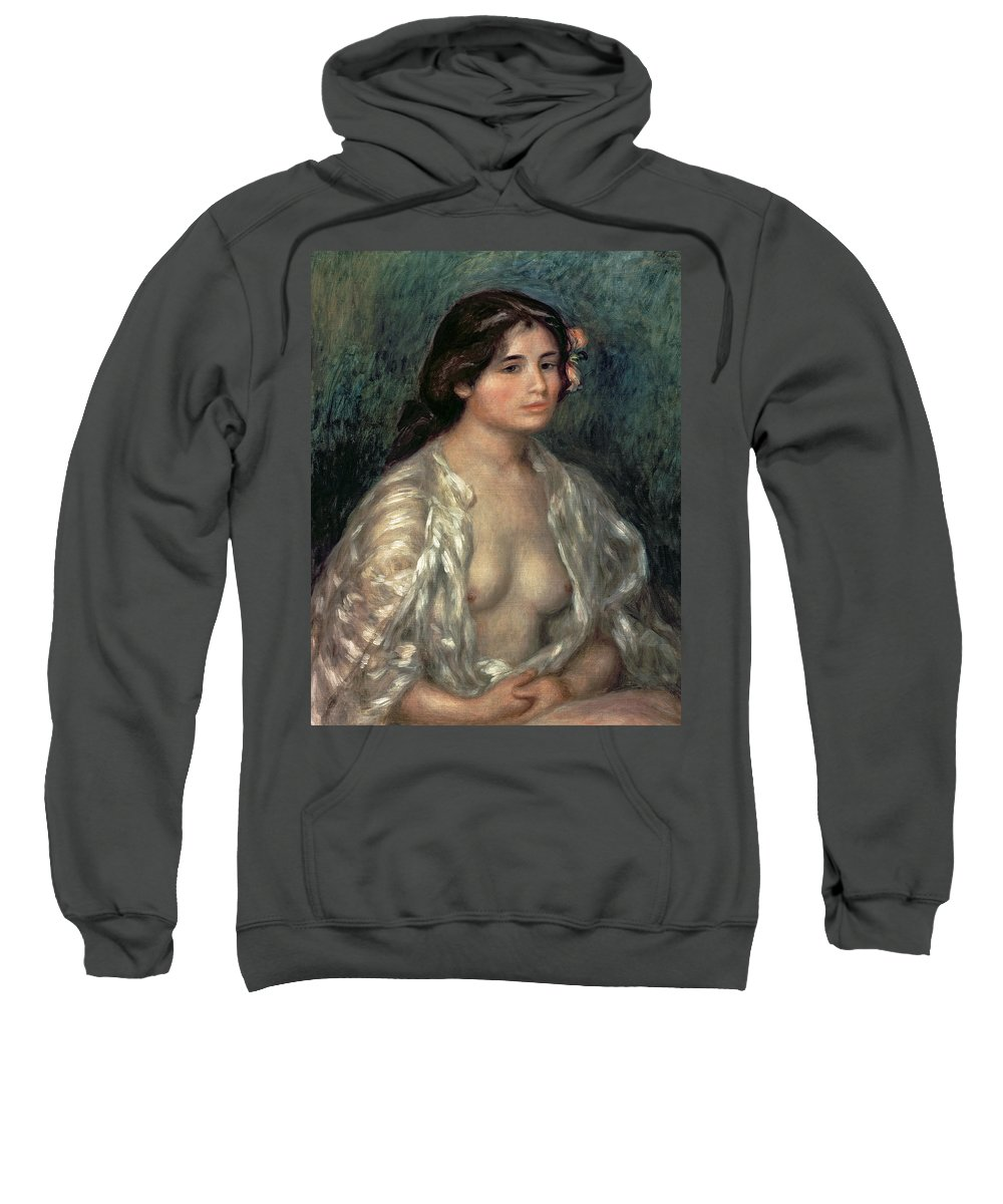 Nude Sweatshirt featuring the painting Woman Semi Nude by Pierre Auguste Renoir