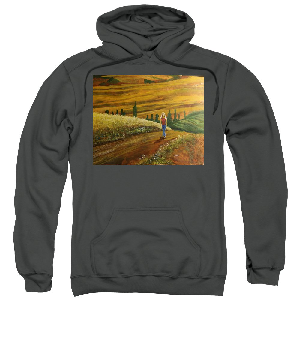 Woman Sweatshirt featuring the painting Woman Walking In Greek Countryside by William Tremble