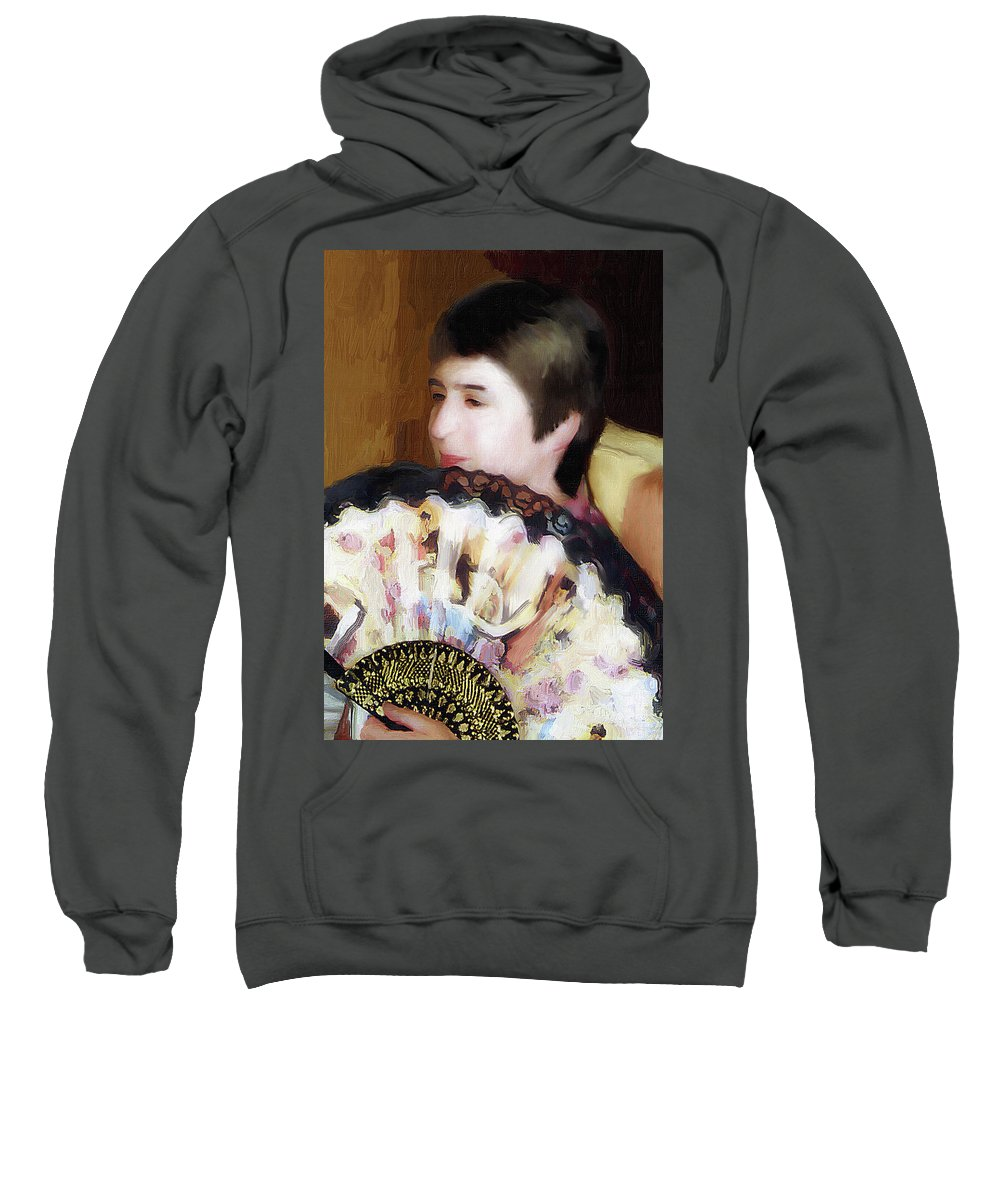 Portrait Sweatshirt featuring the painting Woman With A Fan by Alex Galkin