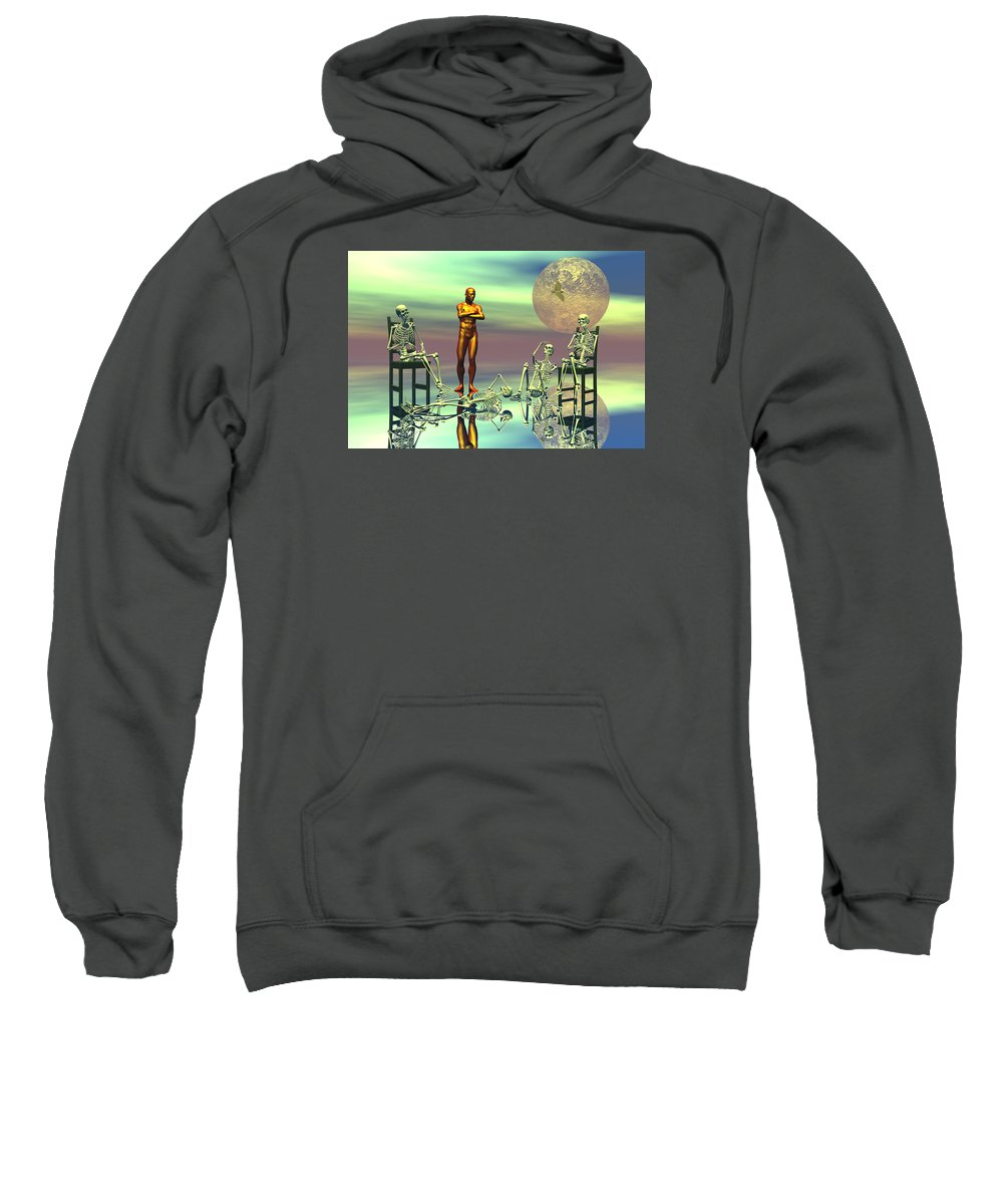 Bryce Sweatshirt featuring the digital art Women Waiting For The Perfect Man by Claude McCoy