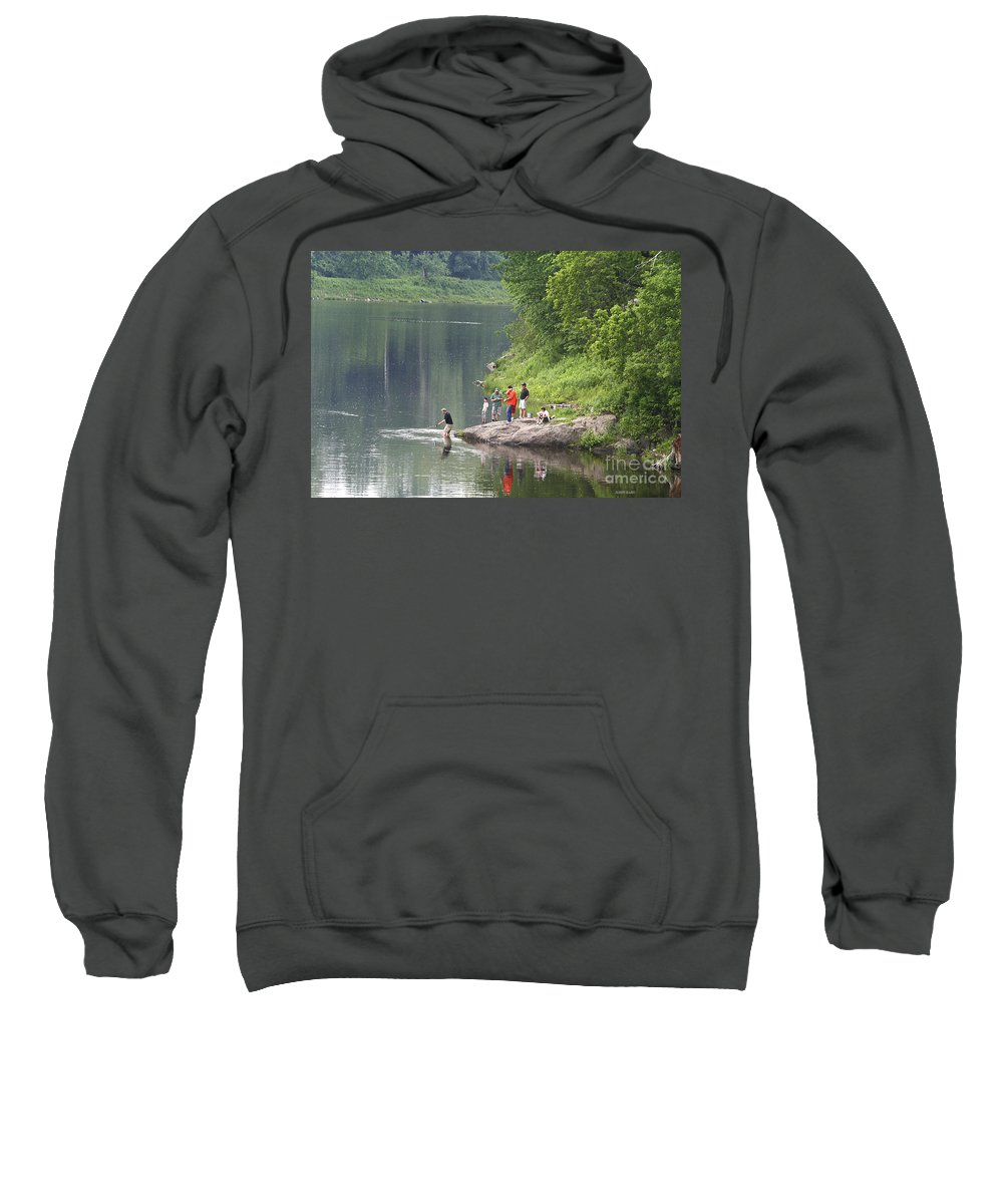 River Sweatshirt featuring the photograph Wonderful Day Of Fishing by Deborah Benoit