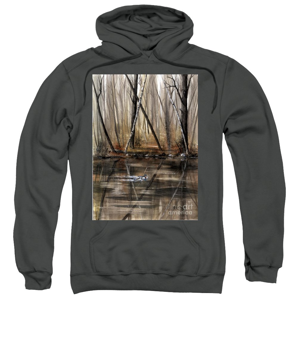 Nature Sweatshirt featuring the painting Wood Duck On Pond by Mary Tuomi