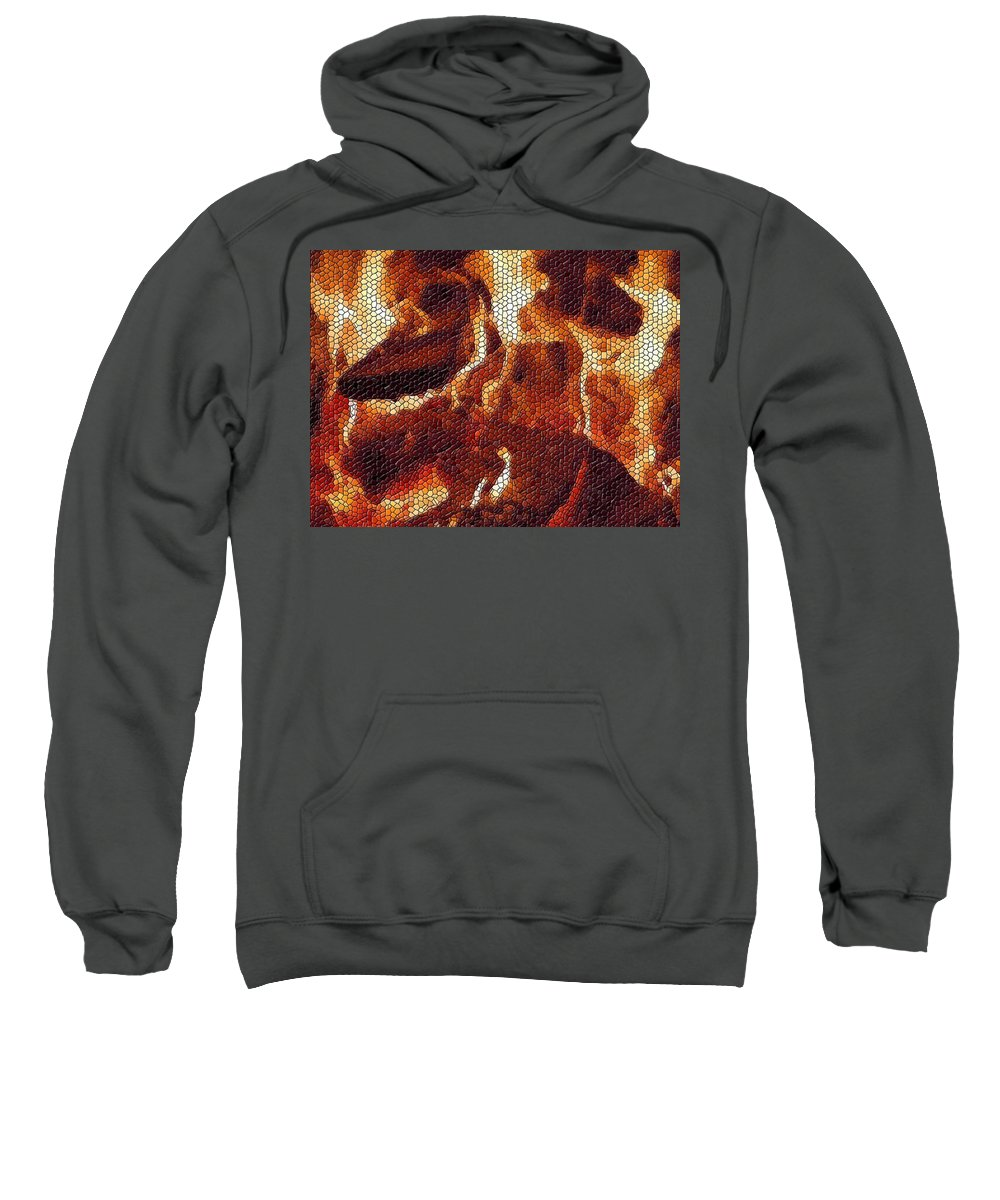 Wood Sweatshirt featuring the digital art Wood Fire Mosaic by Tim Allen