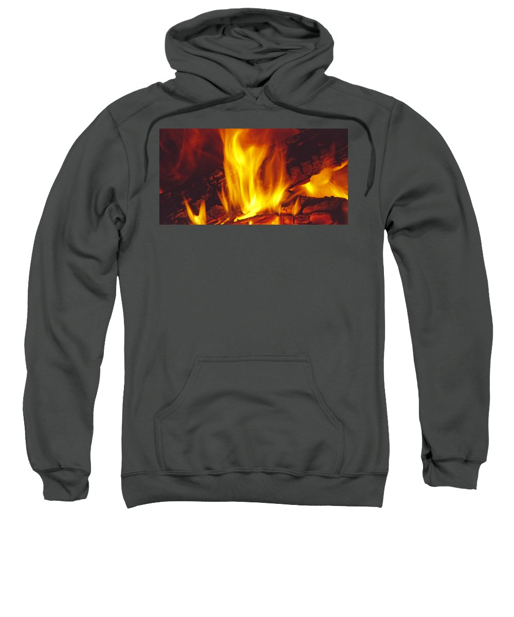 Fire Sweatshirt featuring the photograph Wood Stove - Blazing Log Fire by Steve Ohlsen