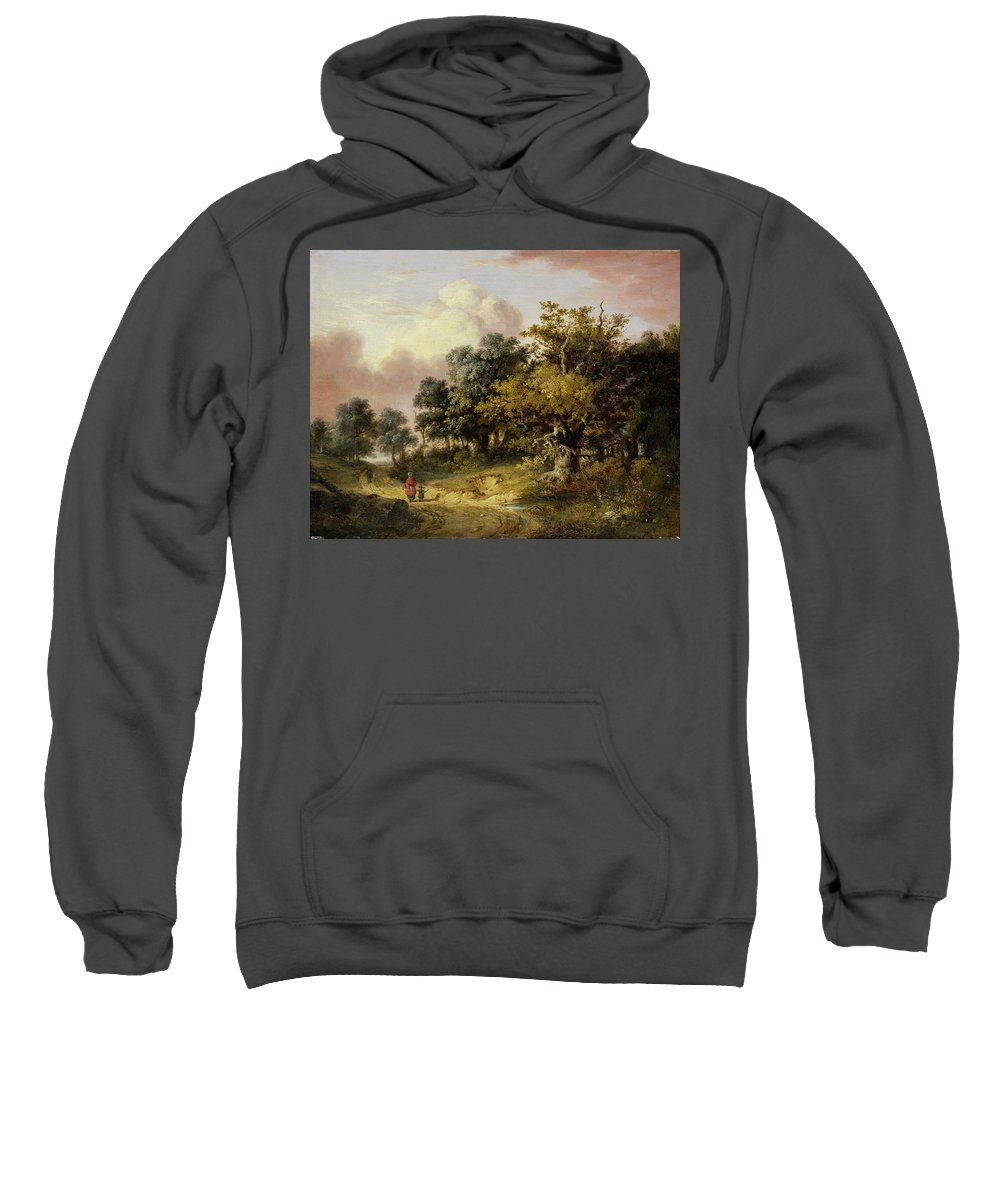 Wooded Sweatshirt featuring the painting Wooded Landscape With Woman And Child Walking Down A Road by Robert Ladbrooke