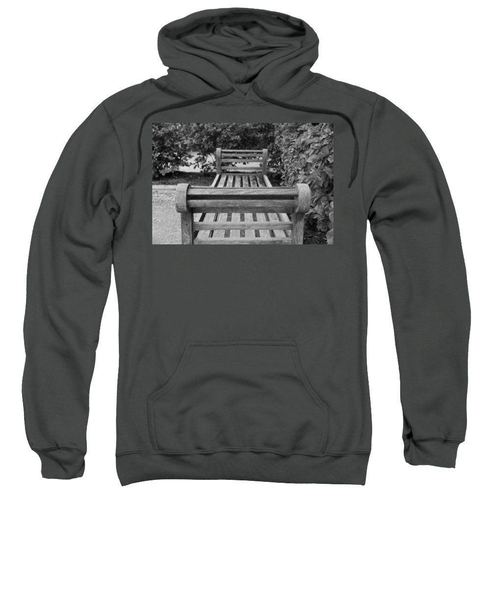 Bushes Sweatshirt featuring the photograph Wooden Bench by Rob Hans