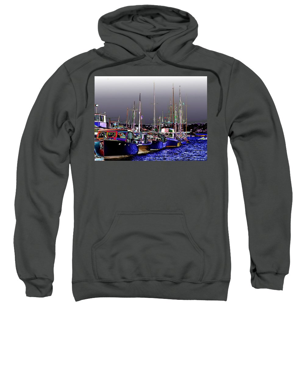 Seattle Sweatshirt featuring the digital art Wooden Boats 2 by Tim Allen