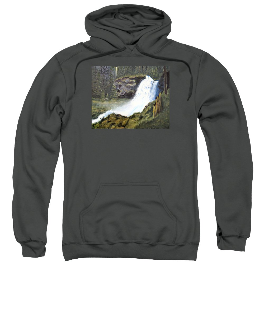 Forest Sweatshirt featuring the painting Woodland Respite by Karen Stark