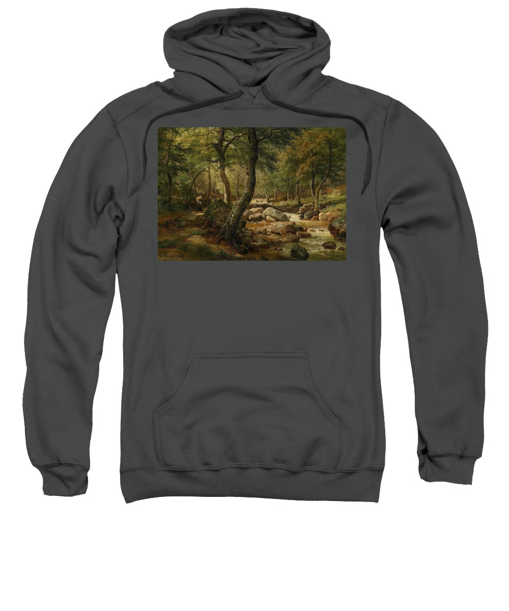 Marie Helene Strohmeyer (1834-1934) Countrywoman By A Woodland Stream Sweatshirt featuring the painting Woodland Stream by MotionAge Designs