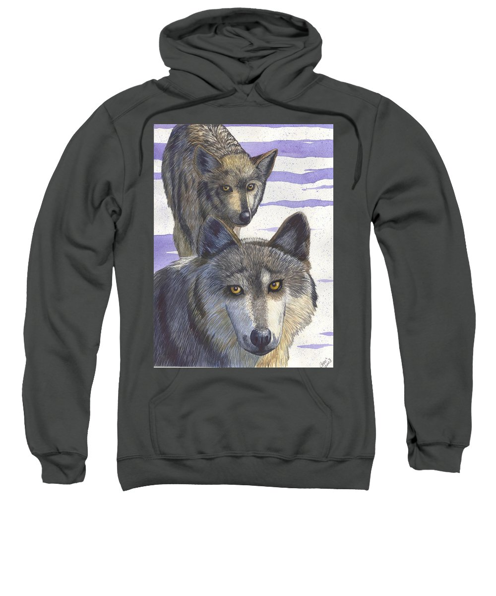 Wolf Sweatshirt featuring the painting Woofies by Catherine G McElroy