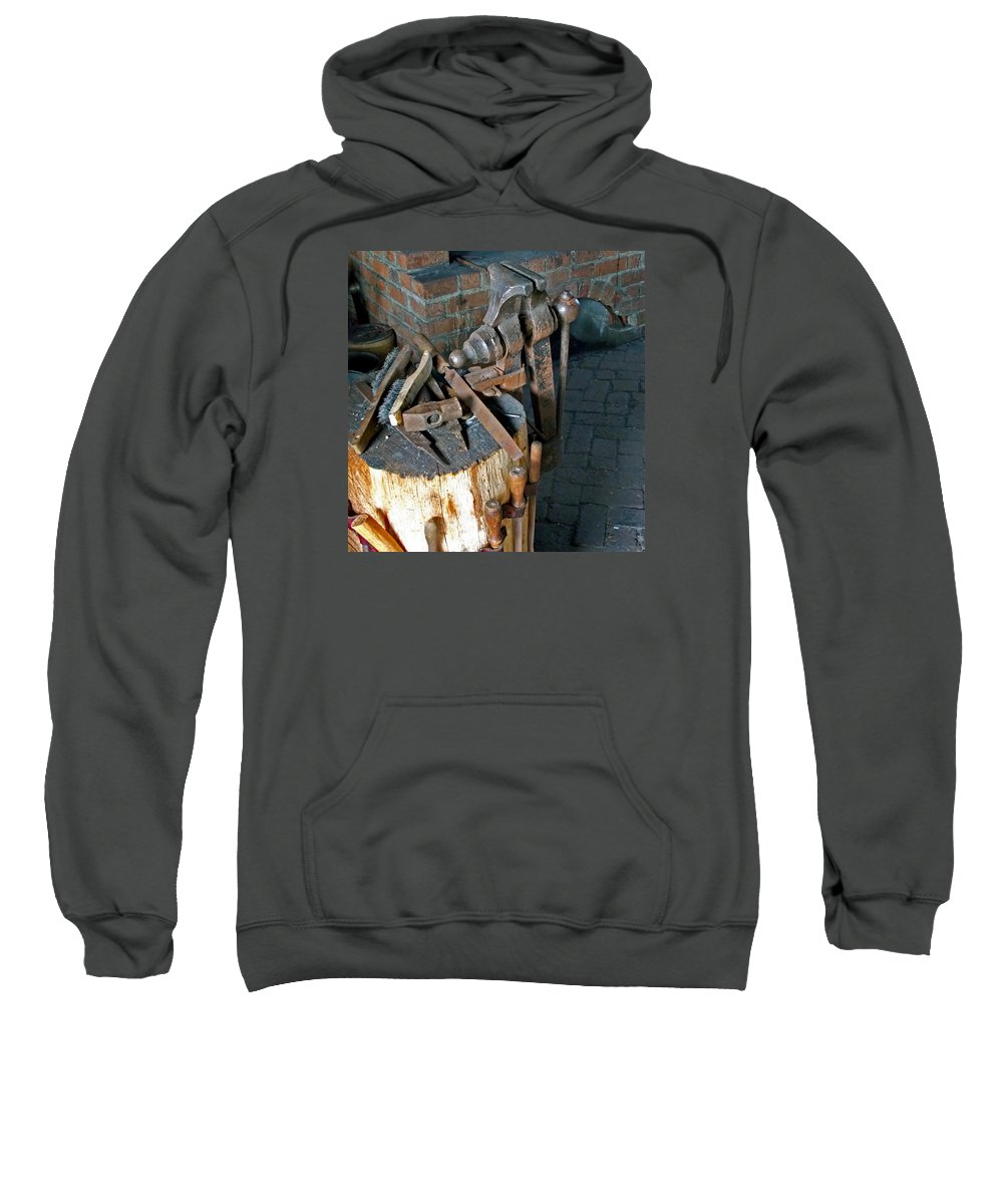 Tools Sweatshirt featuring the photograph Working Tool Bench by Skip Willits