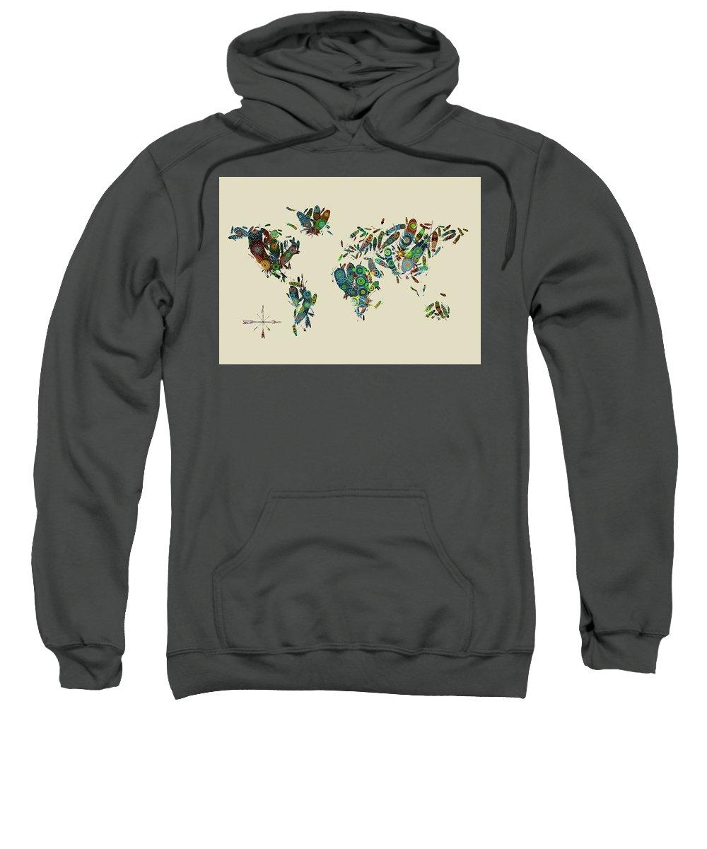 Map Of The World Sweatshirt featuring the digital art World Map Mandala Feathers 3 by Bekim Art