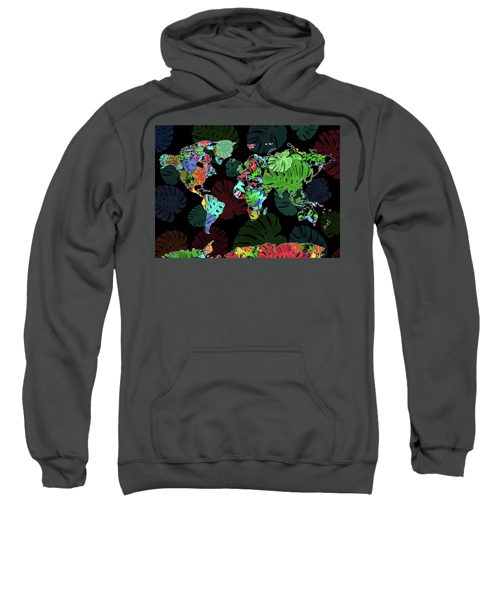 Map Of The World Sweatshirt featuring the digital art World Map Monstera Leaves 8 by Bekim Art