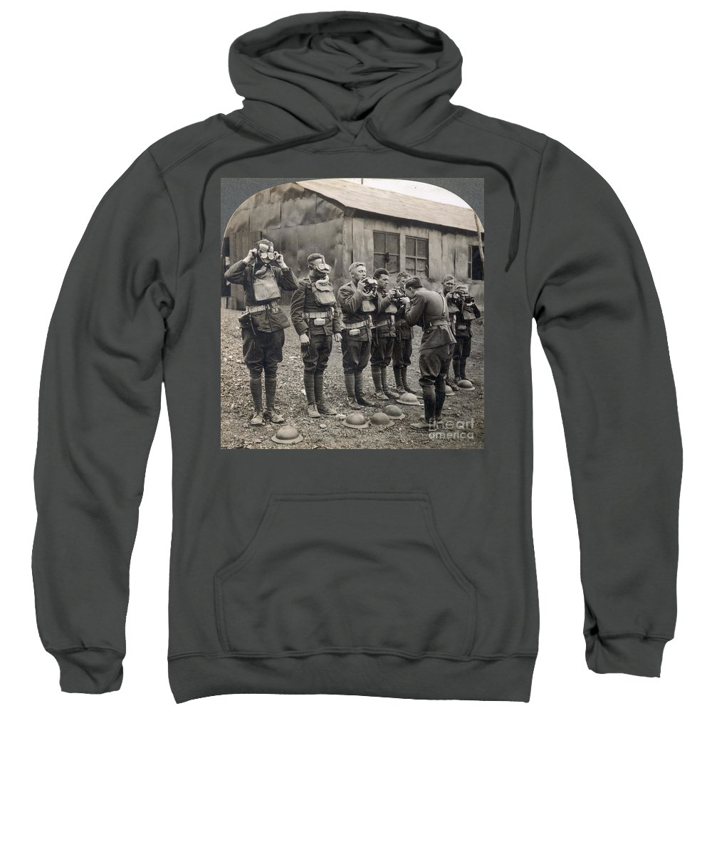1918 Sweatshirt featuring the photograph World War I: Gas Masks by Granger