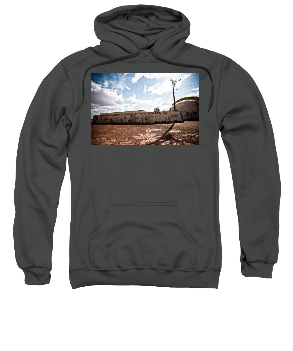 Route 66 Sweatshirt featuring the photograph World's Longest Map Of Route 66 by Robert J Caputo