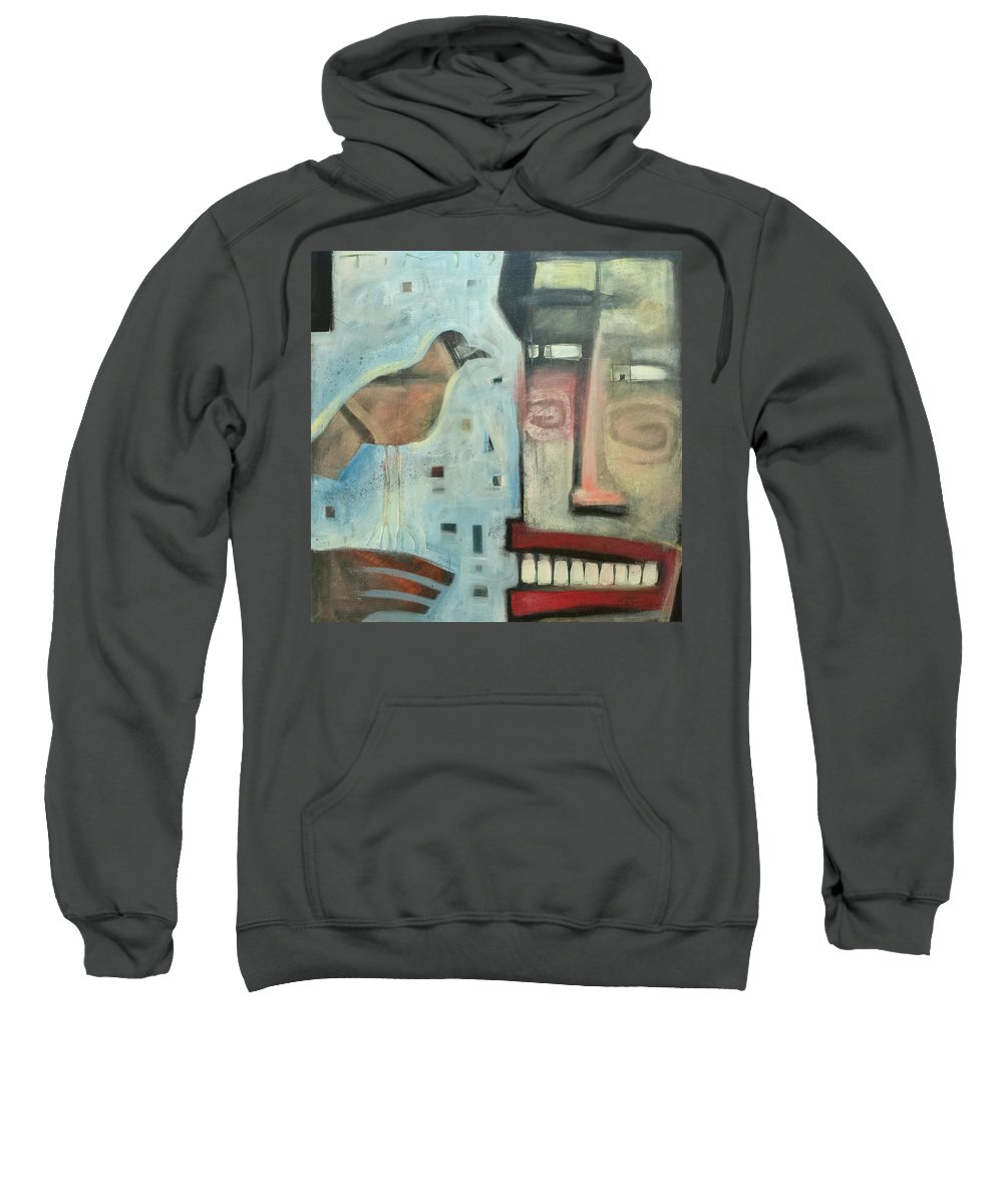 Man Sweatshirt featuring the painting Worth Two... by Tim Nyberg