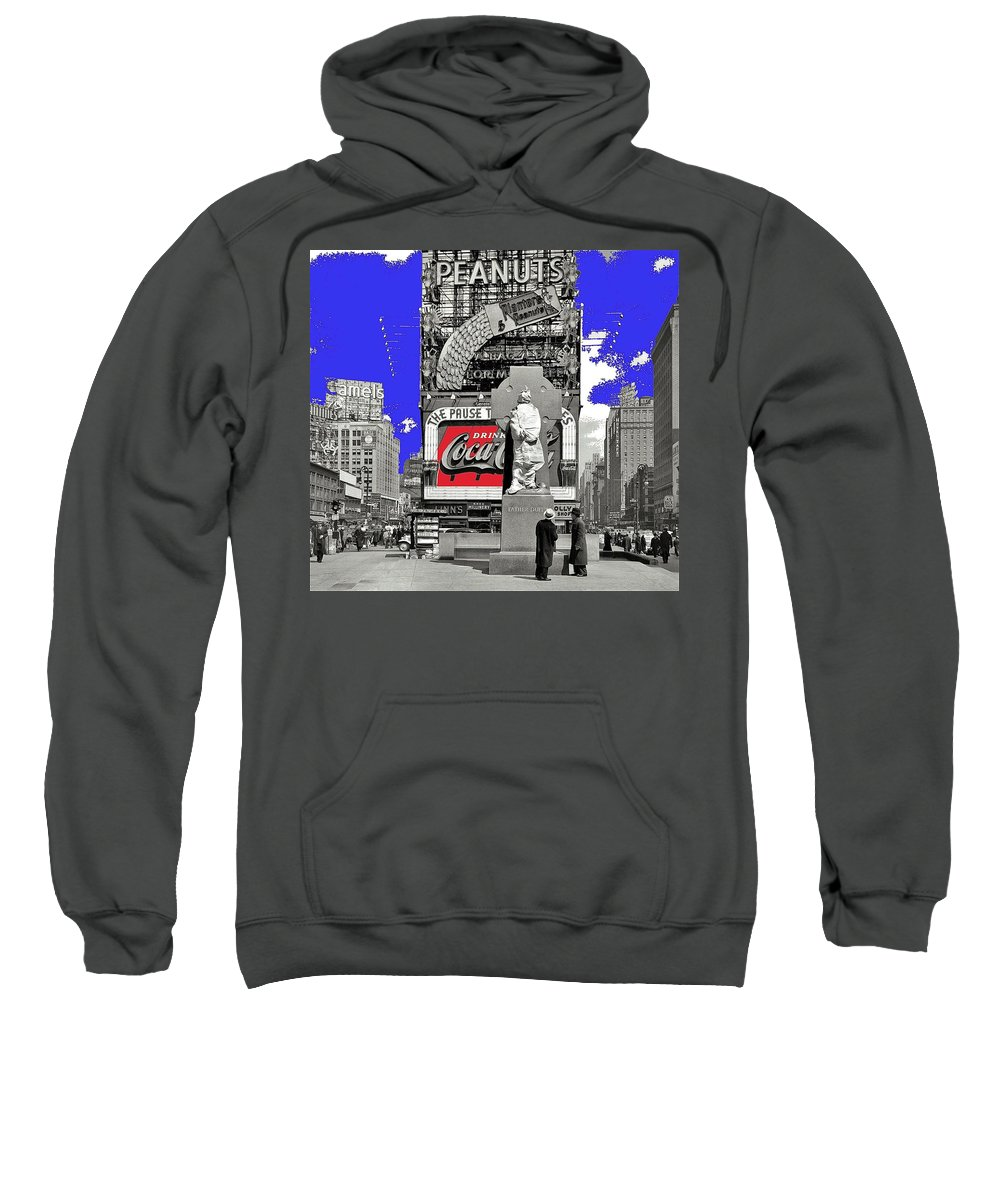 Wrapped Fr. Duffy Statue Times Square New York Peter Sekaer Photo 1937 Color Added 2014 Sweatshirt featuring the photograph Wrapped Fr. Duffy Statue Times Square New York Peter Sekaer Photo 1937 Color Added 2014 by David Lee Guss