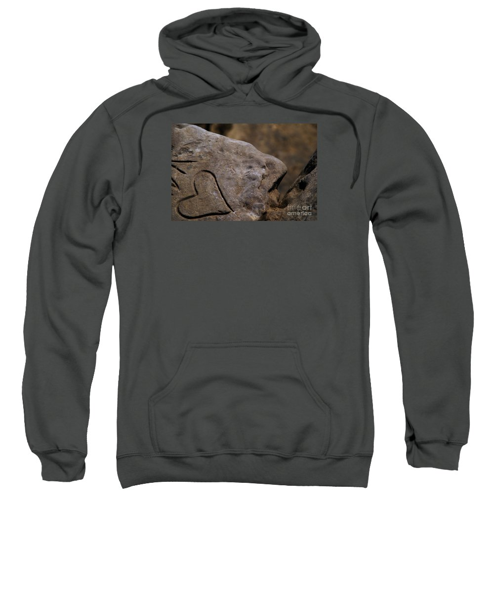 Beach Sweatshirt featuring the photograph Written In Stone by Linda Shafer