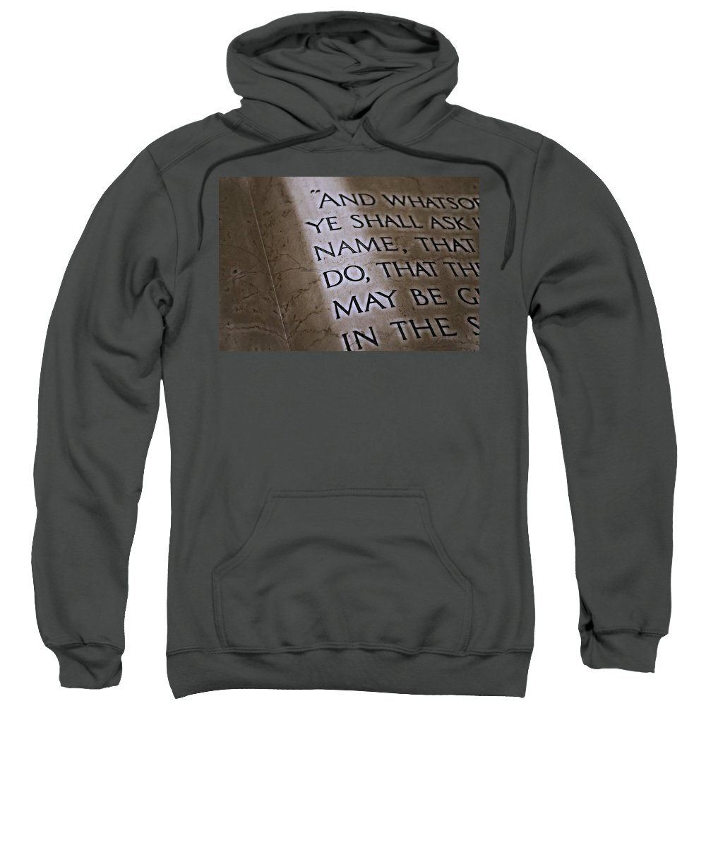 Bible Sweatshirt featuring the photograph Written In Stone by Stephanie Haertling