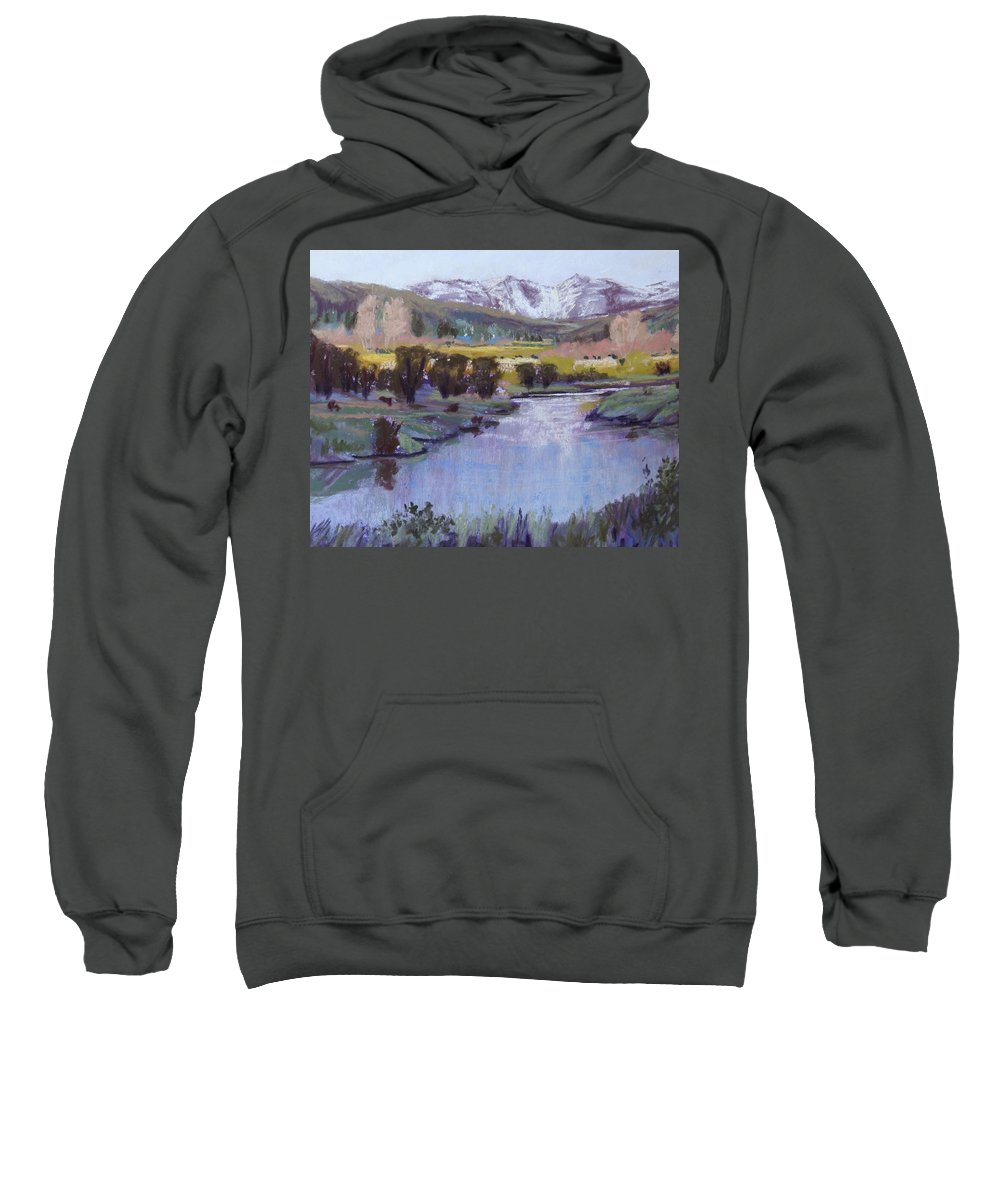 River Sweatshirt featuring the pastel Wyoming River by Heather Coen