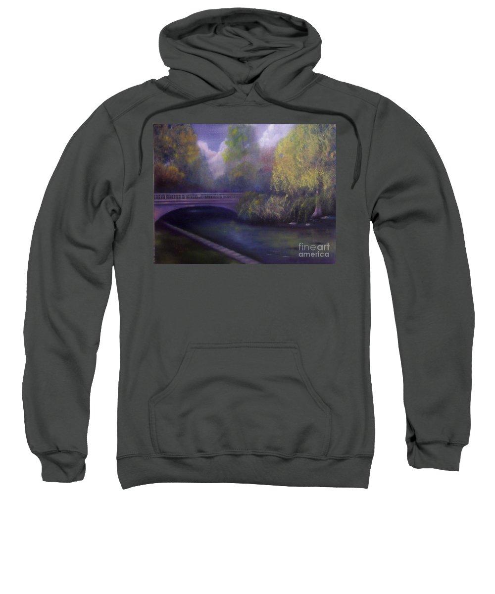 Bridge Sweatshirt featuring the painting Wyomissing Creek Misty Morning by Marlene Book