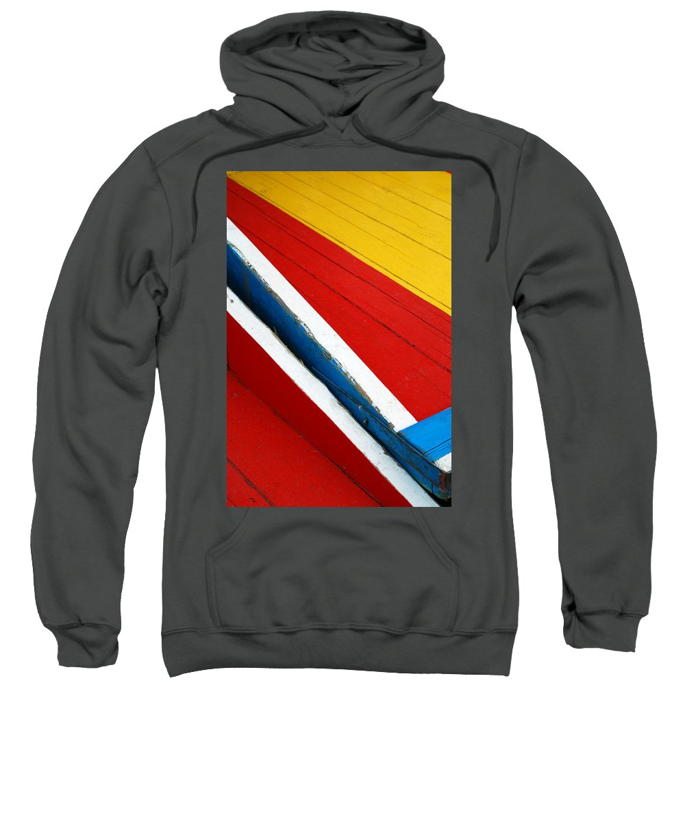 Red Sweatshirt featuring the photograph Xochimilco Boat Abstract 1 by Skip Hunt