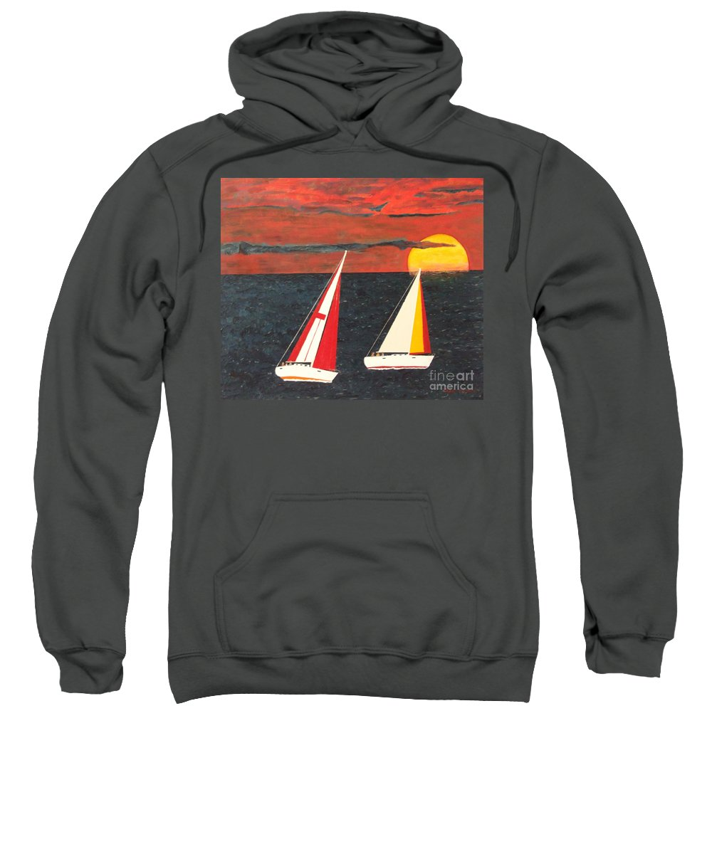Sky Sweatshirt featuring the painting Yacht Racing by Steven Marland