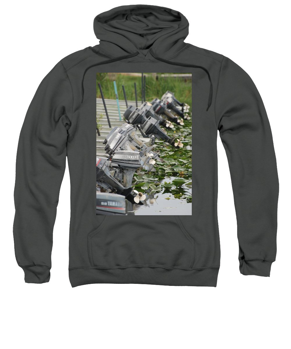 Boats Sweatshirt featuring the photograph Yamaha Outboards by Rob Hans