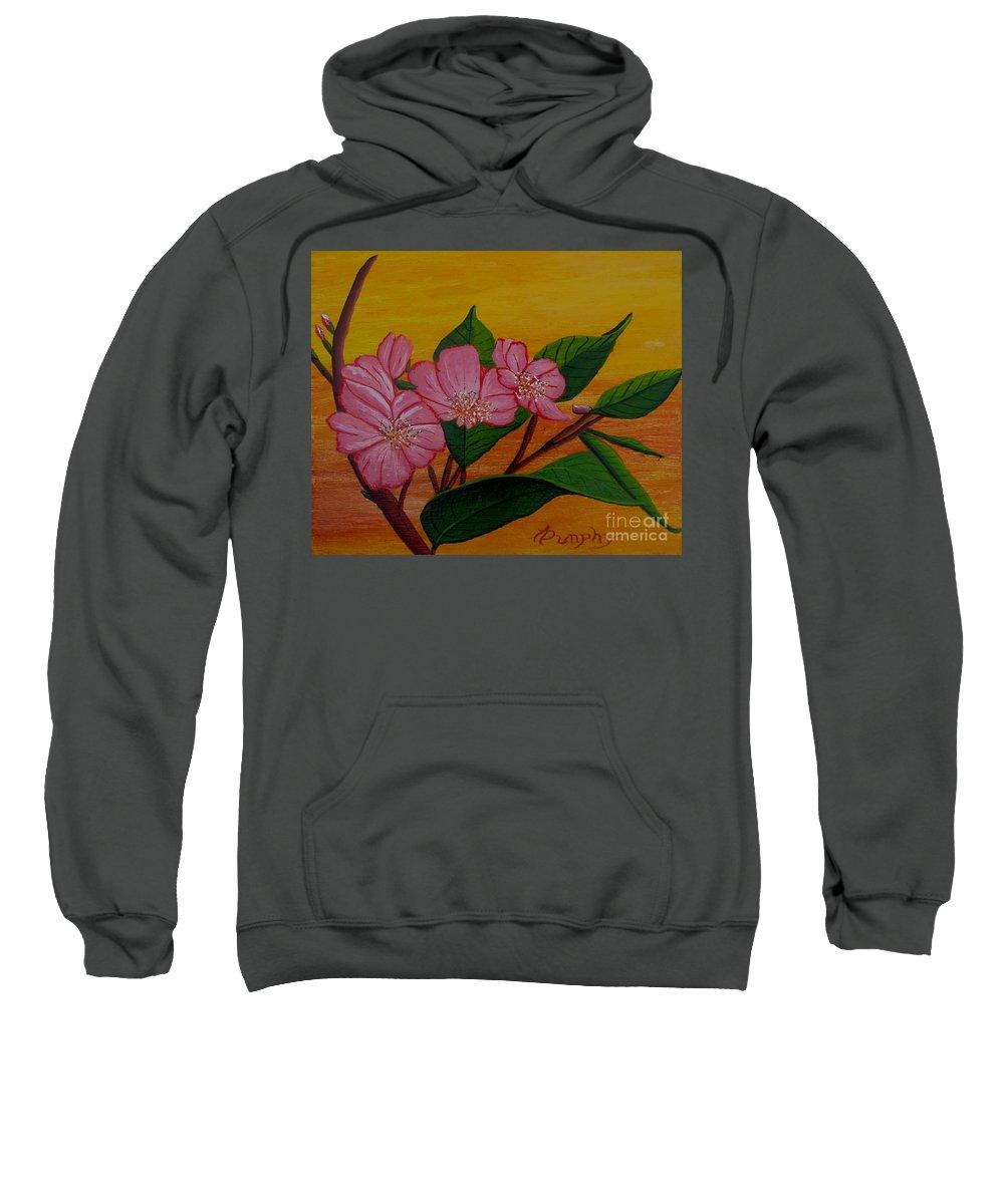 Yamazakura Sweatshirt featuring the painting Yamazakura Or Cherry Blossom by Anthony Dunphy