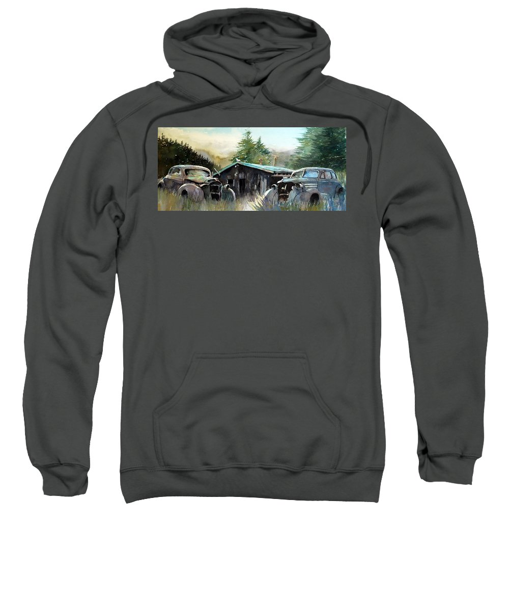 Rusty Cars Sweatshirt featuring the painting Yard Mates by Ron Morrison