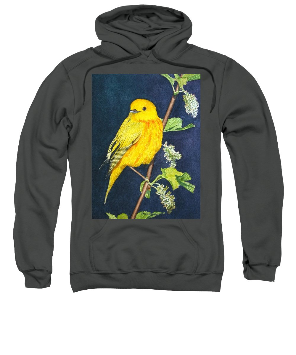 Bird Sweatshirt featuring the painting Yelllow Warbler by Sharon Farber