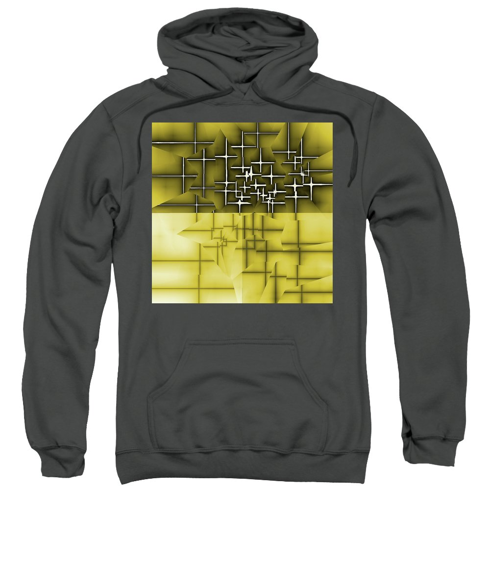 Abstract Sweatshirt featuring the digital art Yellow And Black 5 by Jack Bowman