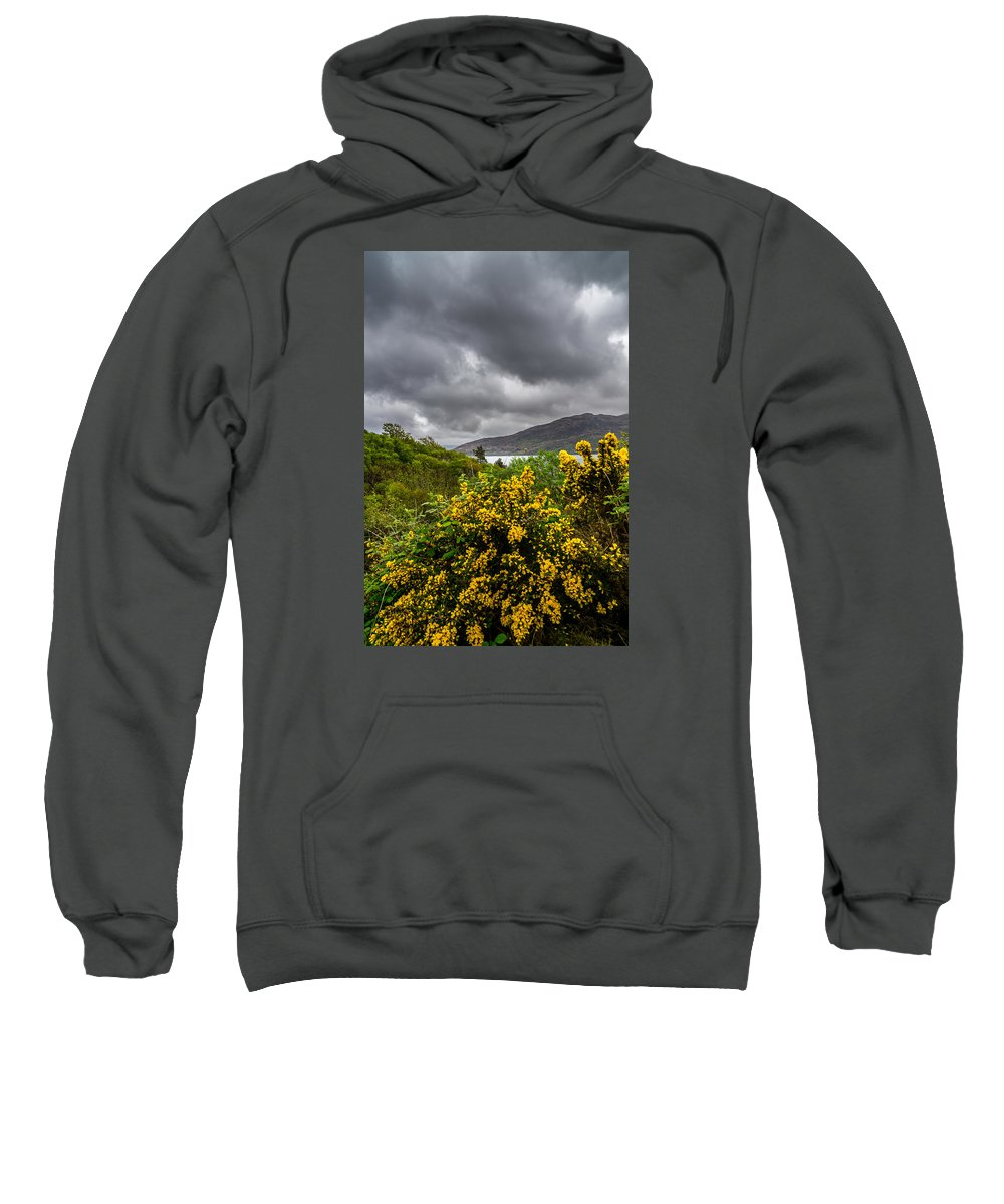 Clouds Sweatshirt featuring the photograph Yellow Flowers And Grey Clouds, Stormy Weather Over Sea In Scotland. by Ineke Mighorst