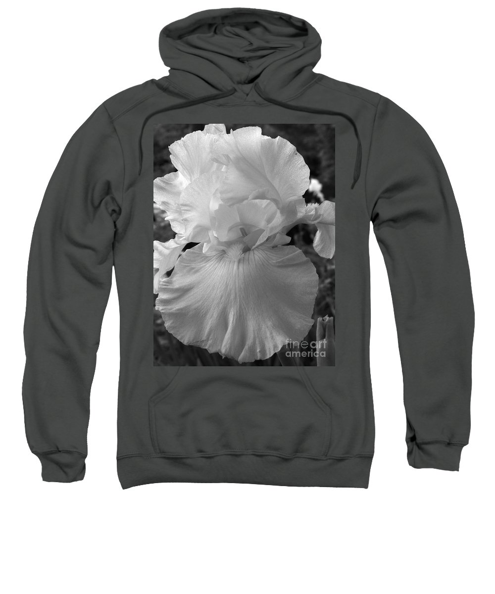Iris Sweatshirt featuring the photograph Yellow And White Iris In Bw by Kathy McClure