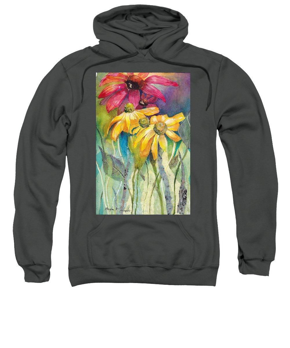 Flowers Garden Daisy Pink Yellow Green Landscape Coneflower Leaf Summer Spring Sunshine Bouquet Sweatshirt featuring the mixed media Yellow Coneflower by Mary Lou McCambridge