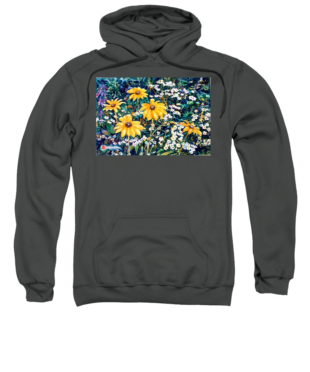 Daisies Sweatshirt featuring the painting Yellow Daisies by Norma Boeckler