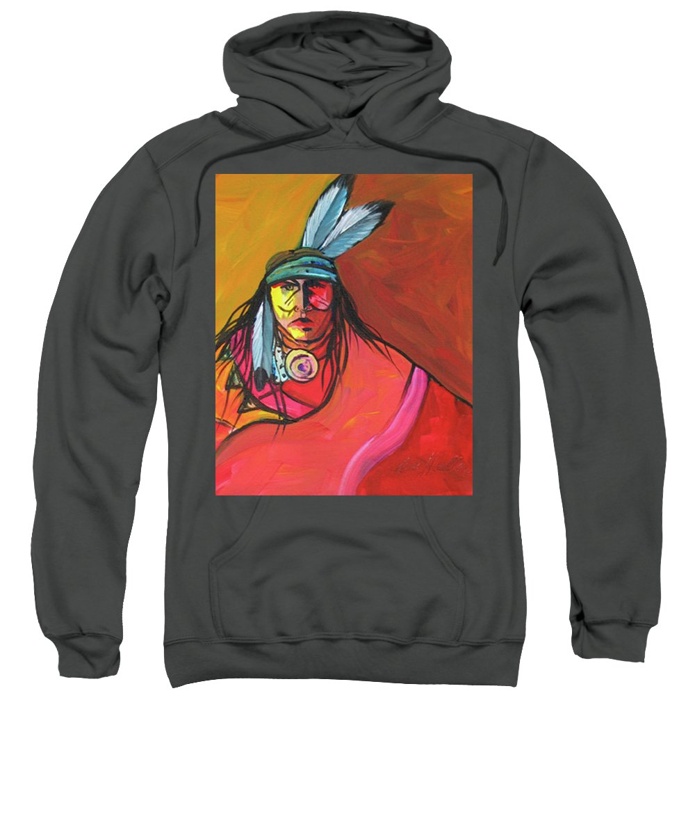 Contemporary Native American Art Sweatshirt featuring the painting Yellow Face by Lance Headlee