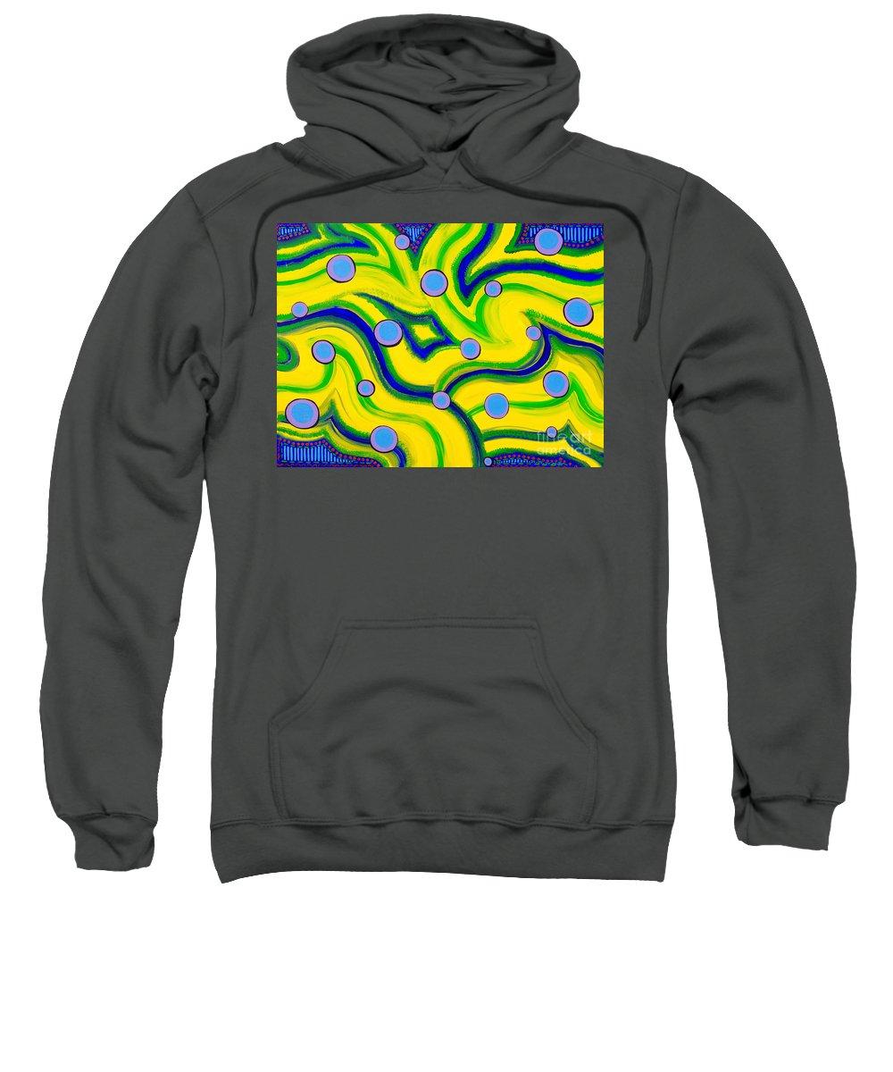 Abstract Art Sweatshirt featuring the painting Yellow Green Blue Swirls by Laura Kiro