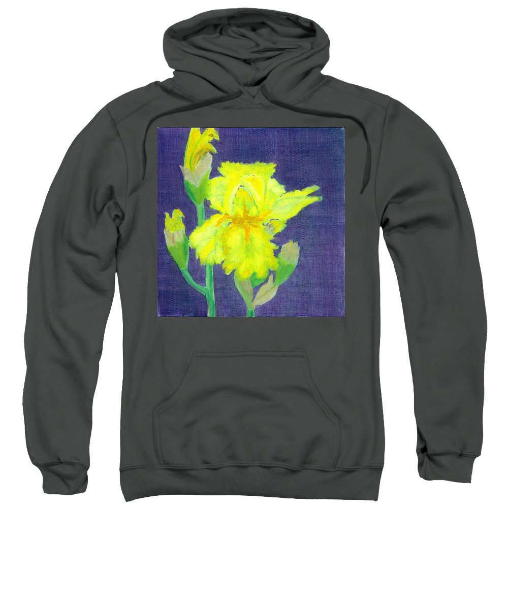 Iris Sweatshirt featuring the painting Yellow Iris by Paula Emery