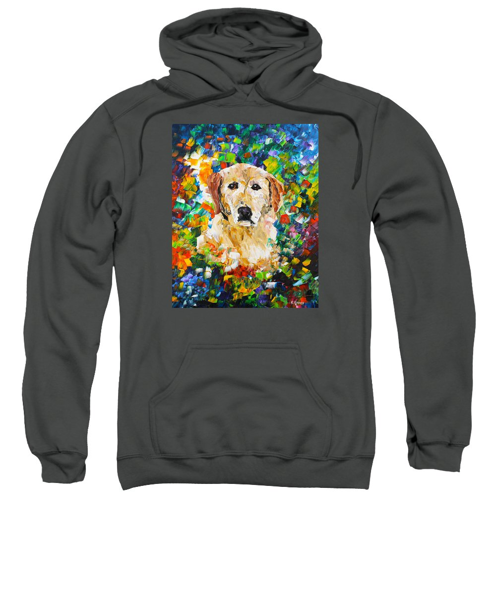 Labrador Retriever Sweatshirt featuring the painting yellow Lab by Kevin Brown