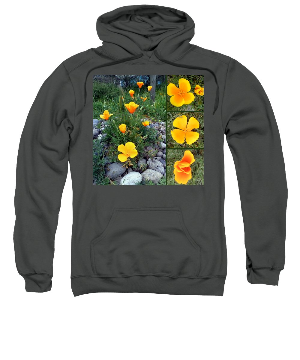 Dedal De Oro Sweatshirt featuring the photograph Yellow Poppies Collage by Madalena Lobao-Tello