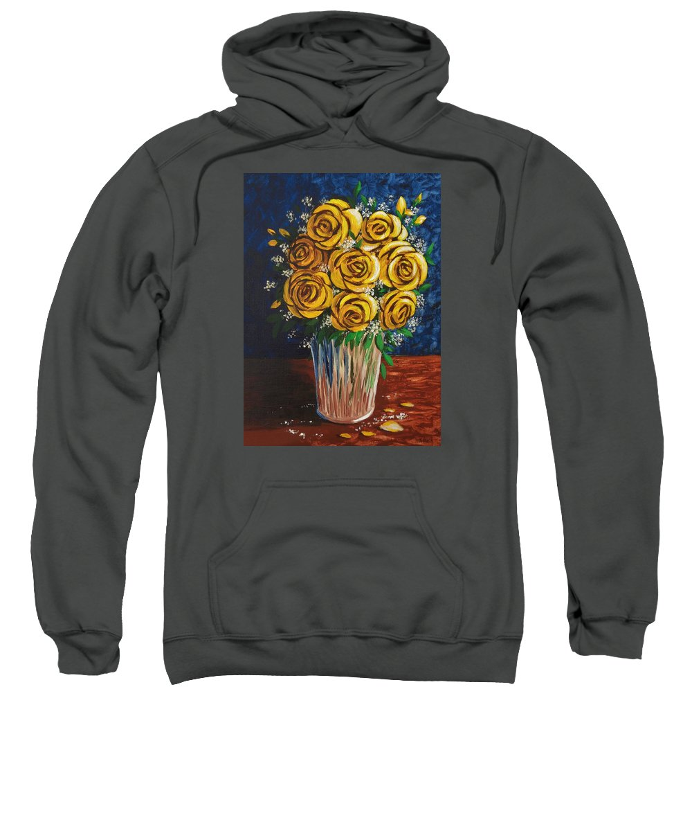 Yellow Sweatshirt featuring the painting Yellow Roses by Katherine Young-Beck