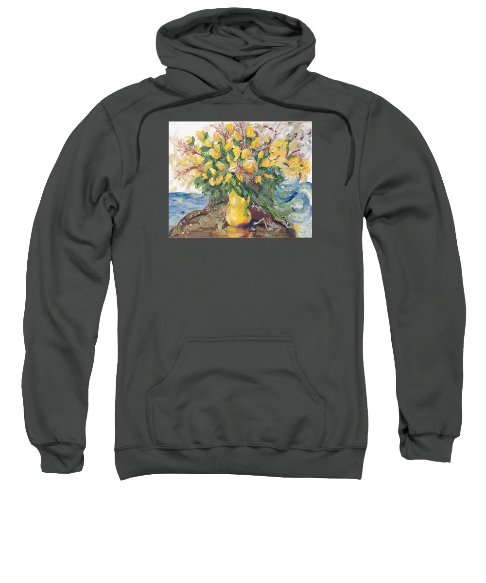 Floral Art Sweatshirt featuring the painting Yellow Roses by Nira Schwartz