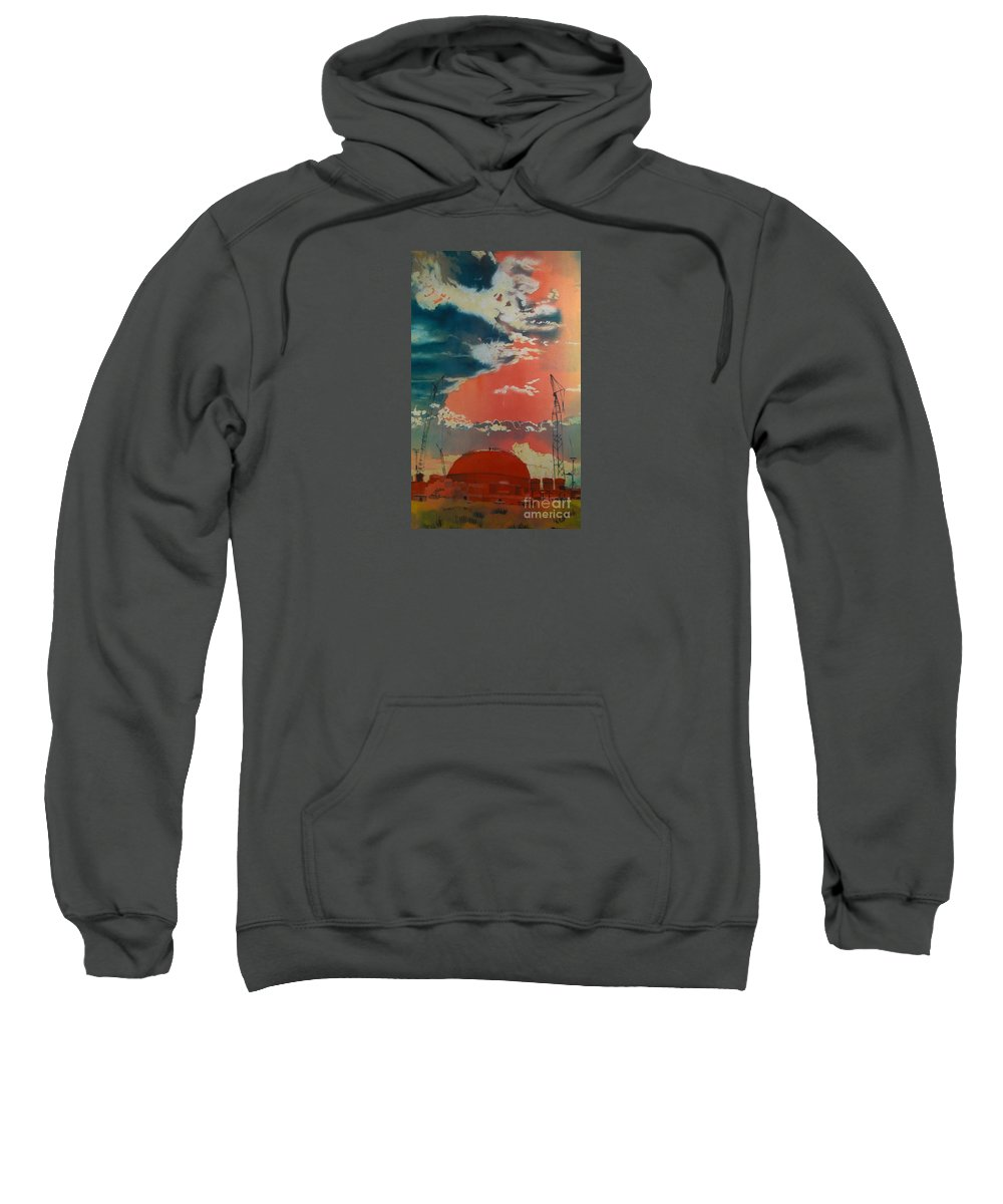 Orange Sweatshirt featuring the painting Yin And Yang by Elizabeth Carr