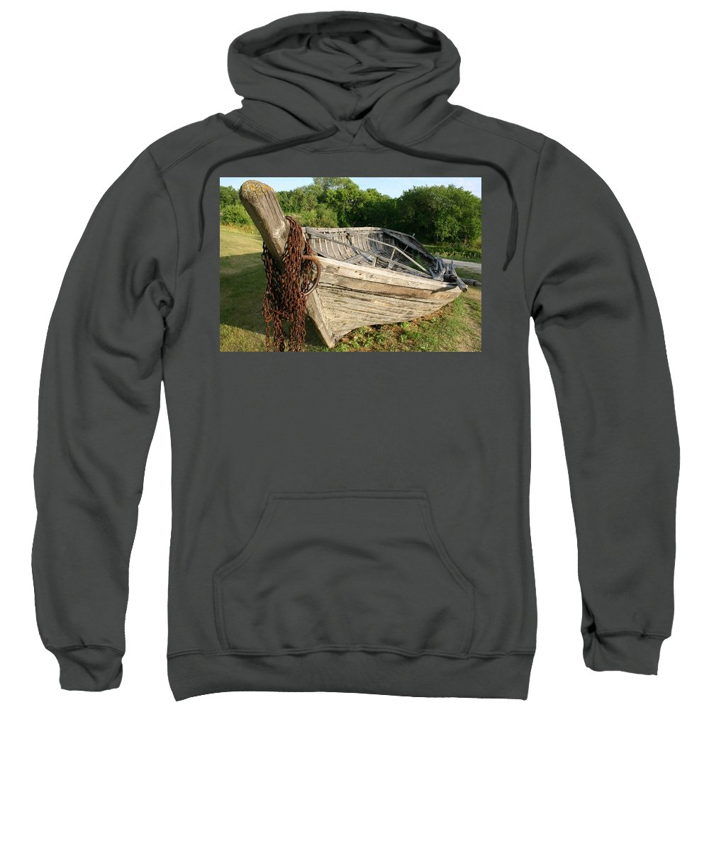 York Boat Sweatshirt featuring the photograph York Boat - Fort Garry by Nelson Strong