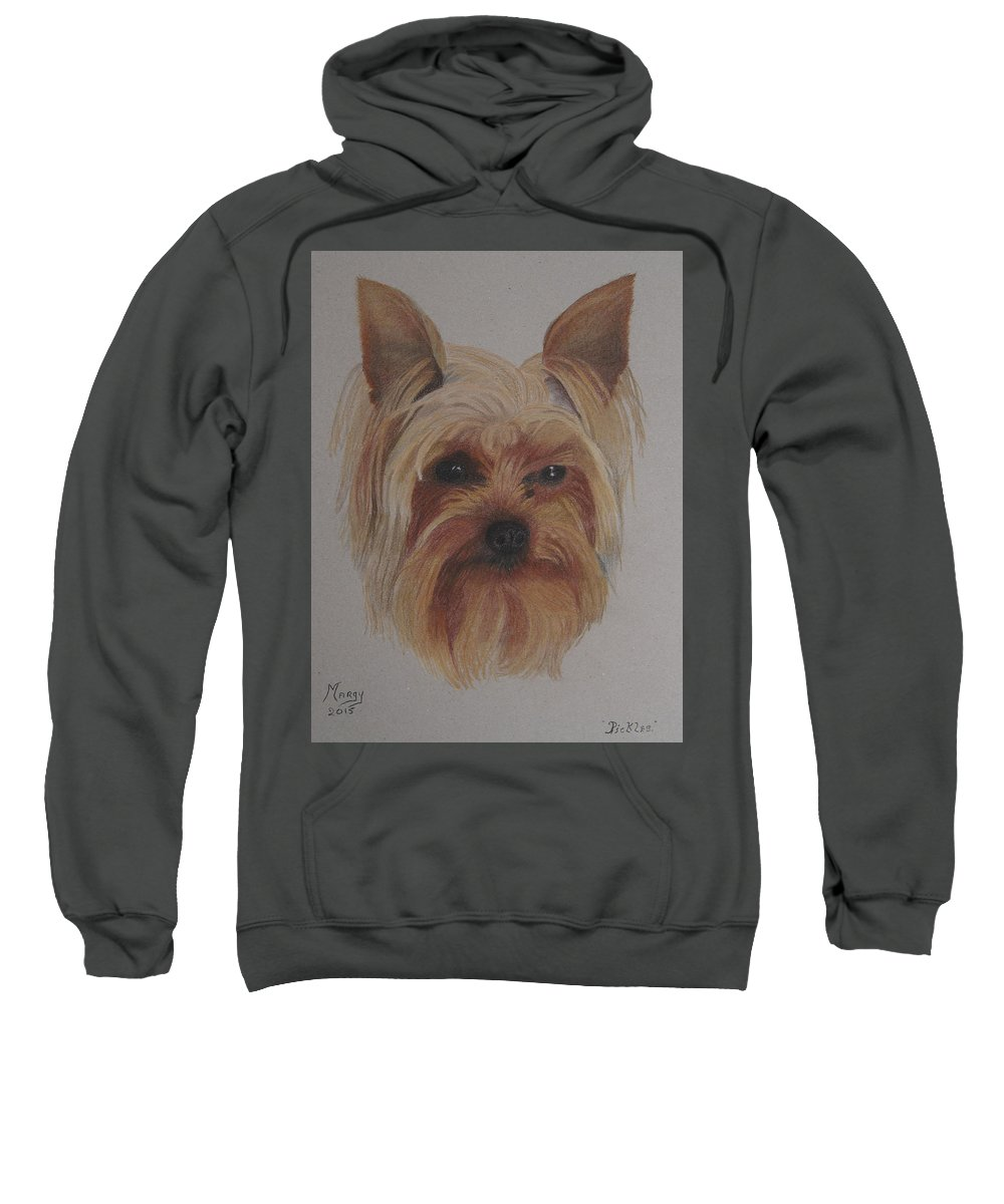 Yorkie Sweatshirt featuring the pastel Pickles The Yorkie by Margaret Riley