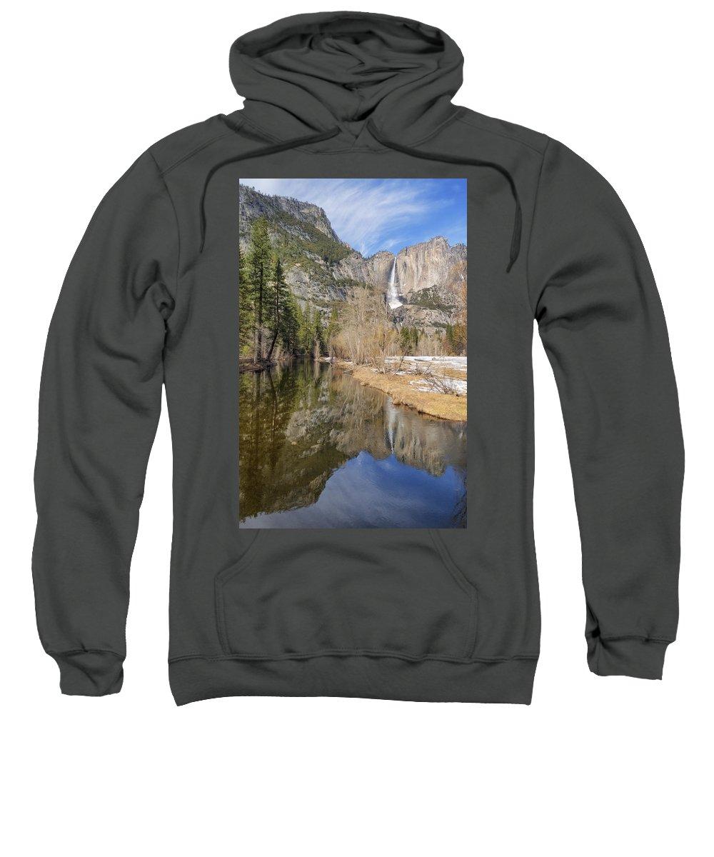 Merced River Sweatshirt featuring the photograph Yosemite Falls Reflection by Doug Holck