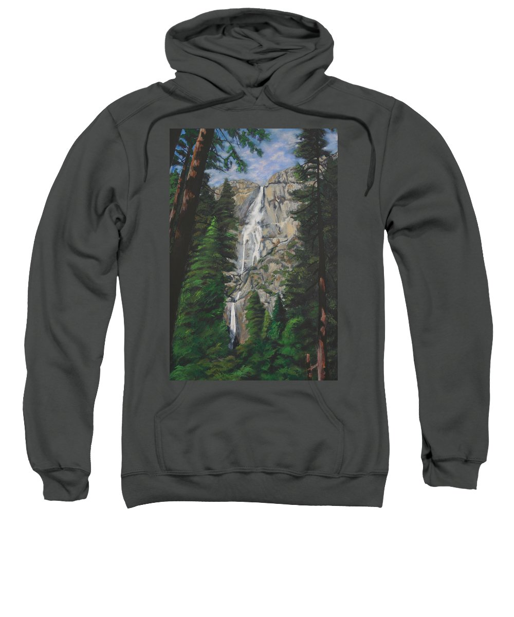 Landscape Sweatshirt featuring the painting Yosemite Falls by Travis Day