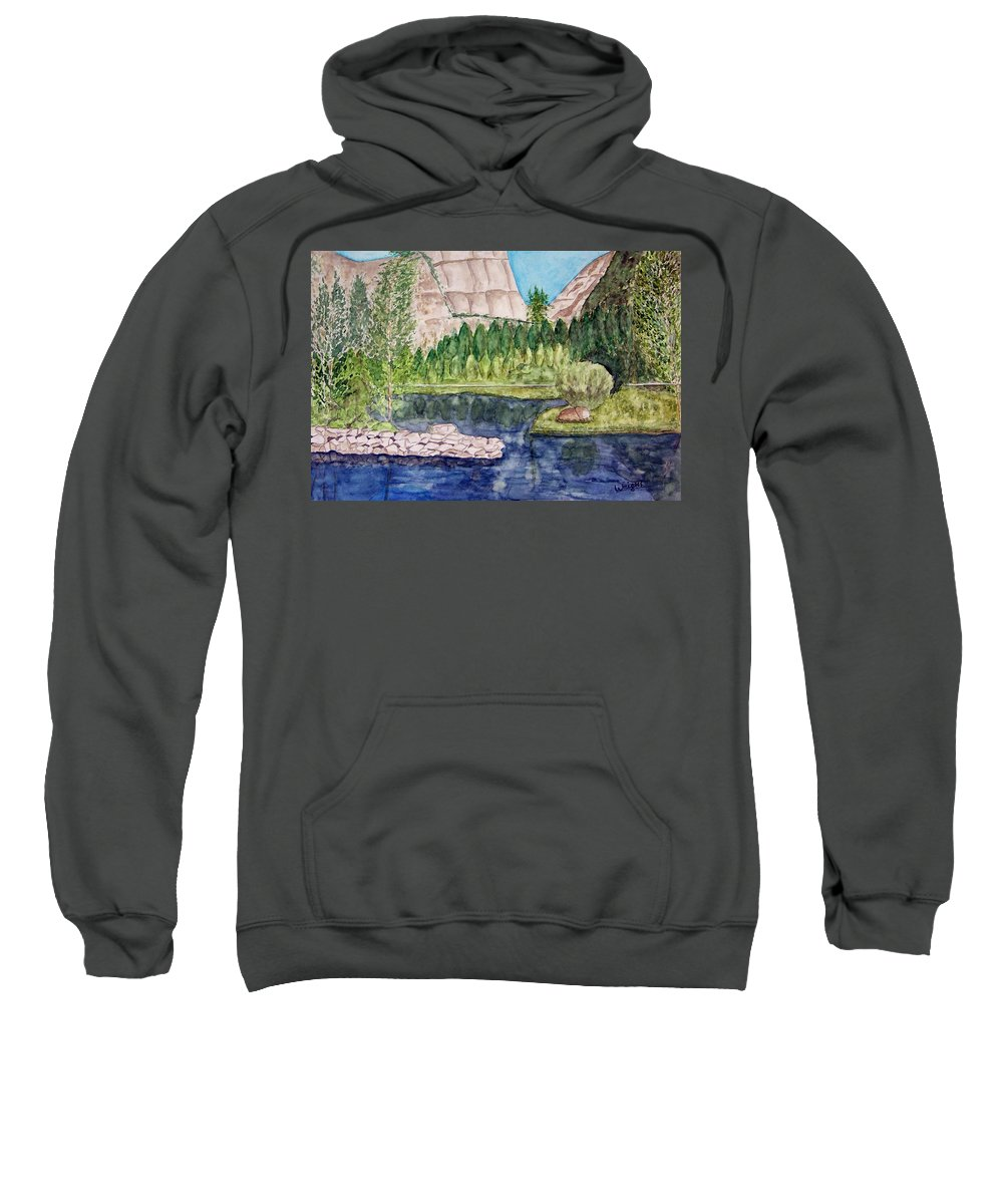 Yosemite National Park Sweatshirt featuring the painting Yosemite by Larry Wright
