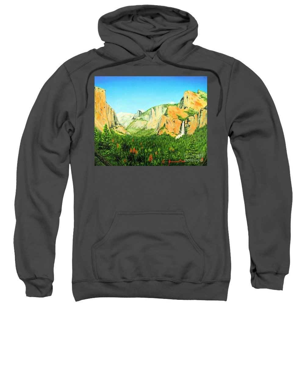 Yosemite National Park Sweatshirt featuring the painting Yosemite National Park by Jerome Stumphauzer